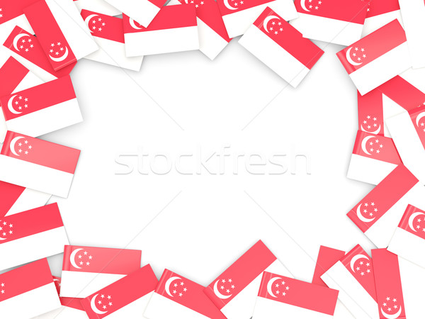 Frame vlag Singapore geïsoleerd witte Stockfoto © MikhailMishchenko
