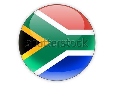 Icon vlag South Africa geïsoleerd witte reizen Stockfoto © MikhailMishchenko