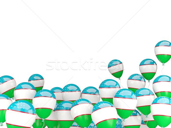 Repülés léggömbök zászló Üzbegisztán izolált fehér Stock fotó © MikhailMishchenko