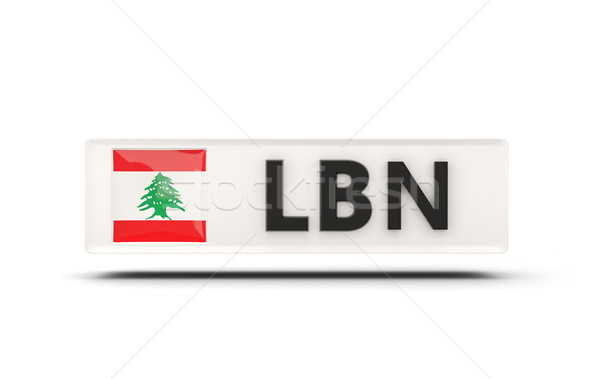 Carré icône pavillon Liban iso code Photo stock © MikhailMishchenko