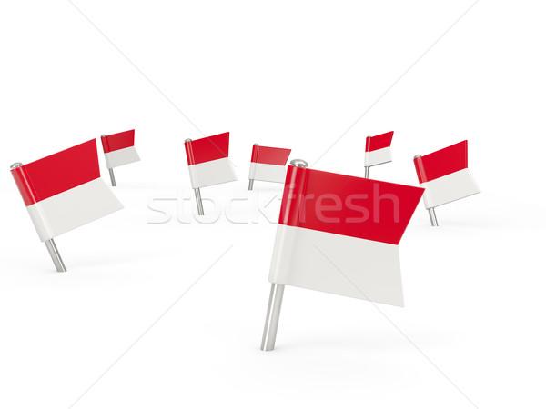 Vierkante vlag Indonesië geïsoleerd witte land Stockfoto © MikhailMishchenko