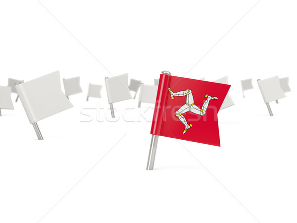 Square pin with flag of isle of man Stock photo © MikhailMishchenko