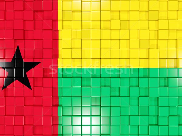 Background with square parts. Flag of guinea bissau. 3D illustra Stock photo © MikhailMishchenko