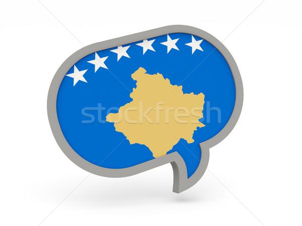 Conversar ícone bandeira Kosovo isolado branco Foto stock © MikhailMishchenko