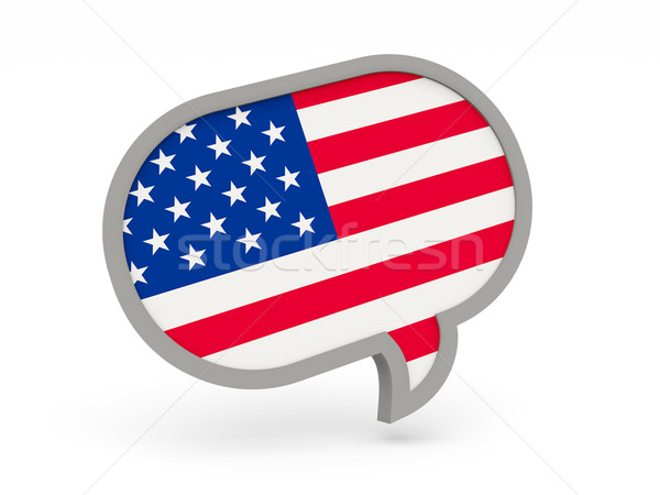 Chat icon with flag of united states of america Stock photo © MikhailMishchenko