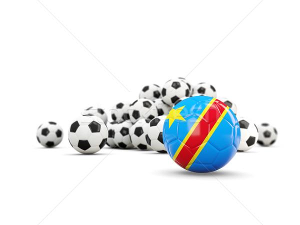 Futball zászló demokratikus köztársaság izolált fehér Stock fotó © MikhailMishchenko