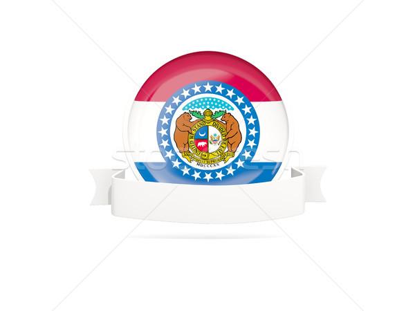 Flag of missouri with banner, US state round icon Stock photo © MikhailMishchenko