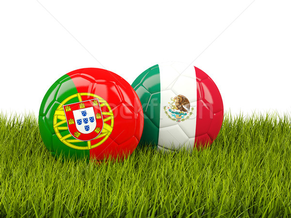Two footballs with flags of Portugal and Mexico on green grass Stock photo © MikhailMishchenko