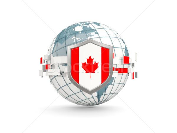 Globe and shield with flag of canada isolated on white Stock photo © MikhailMishchenko