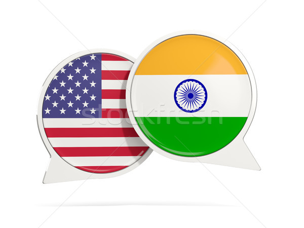 Chat bubbles of USA and India isolated on white Stock photo © MikhailMishchenko