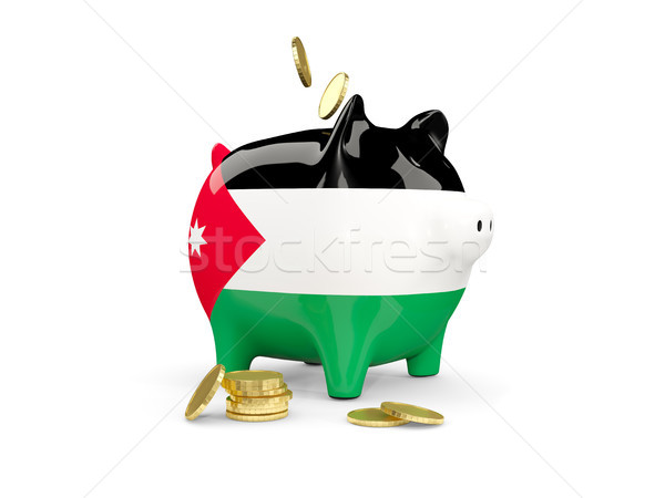 Tłuszczu banku piggy Jordania ceny odizolowany biały Zdjęcia stock © MikhailMishchenko