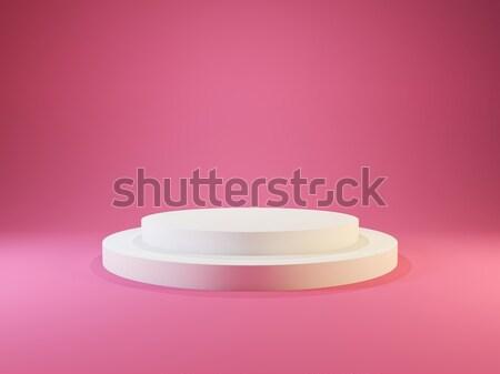 White empty pedestal with lights isolated on pink background Stock photo © MikhailMishchenko