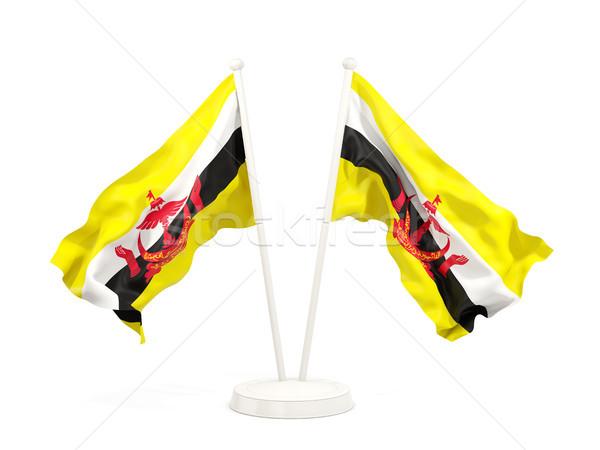 Twee vlaggen Brunei geïsoleerd witte Stockfoto © MikhailMishchenko