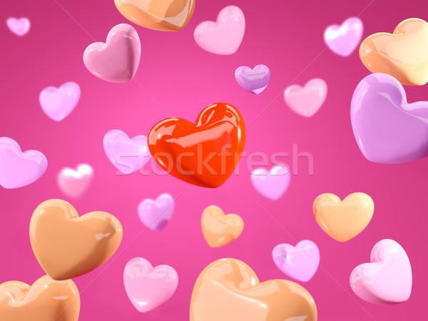 Czerwony serca odizolowany różowy 3d ilustracji małżeństwa Zdjęcia stock © MikhailMishchenko