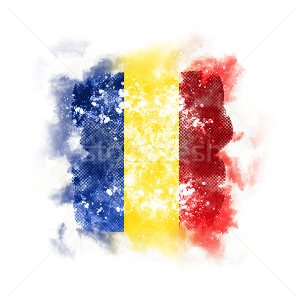 квадратный Гранж флаг Румыния 3d иллюстрации ретро Сток-фото © MikhailMishchenko