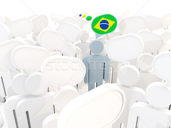 Zdjęcia stock: Człowiek · banderą · Brazylia · tłum · 3d · ilustracji · podpisania
