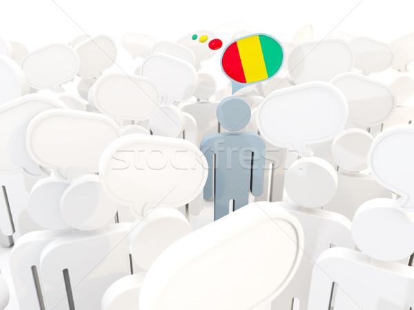 Człowiek banderą Gwinea tłum 3d ilustracji podpisania Zdjęcia stock © MikhailMishchenko