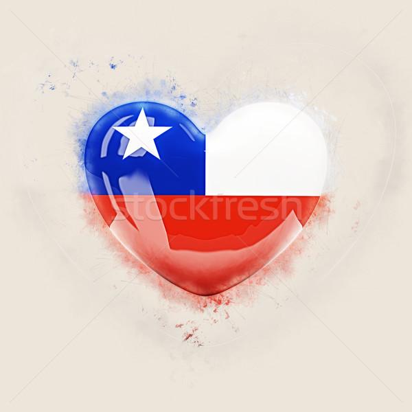 Szív zászló Chile grunge 3d illusztráció szeretet Stock fotó © MikhailMishchenko