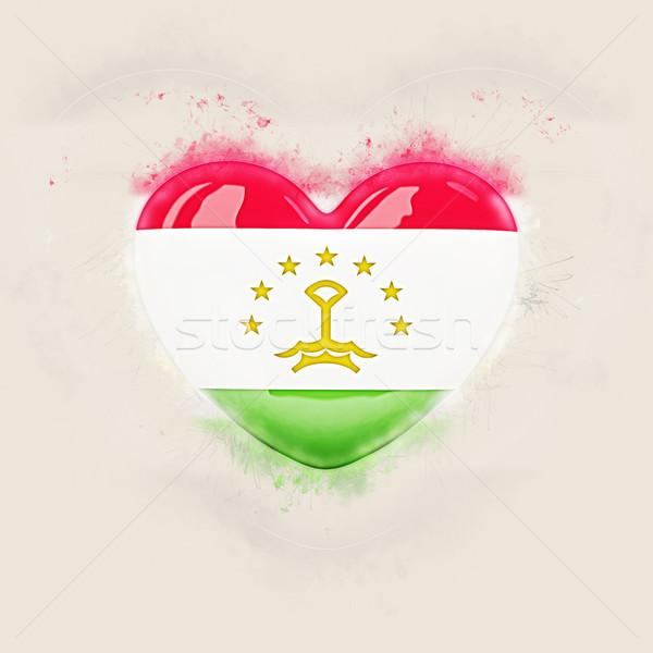 Szív zászló Tádzsikisztán grunge 3d illusztráció utazás Stock fotó © MikhailMishchenko
