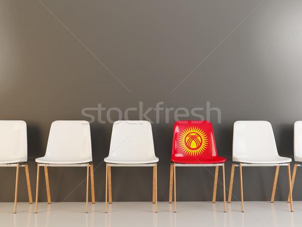 Stoel vlag Kirgizië rij witte stoelen Stockfoto © MikhailMishchenko