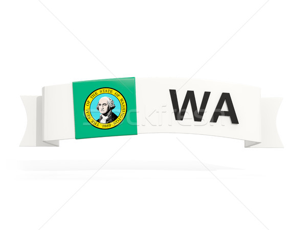 washington state flag on banner with postal abbreviation isolate Stock photo © MikhailMishchenko