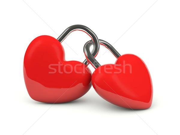 Two hearts locked together Stock photo © MikhailMishchenko