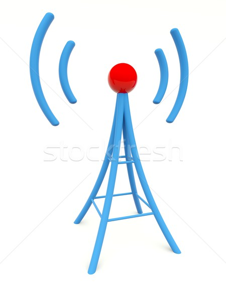 Blue antenna isolated on white Stock photo © MikhailMishchenko