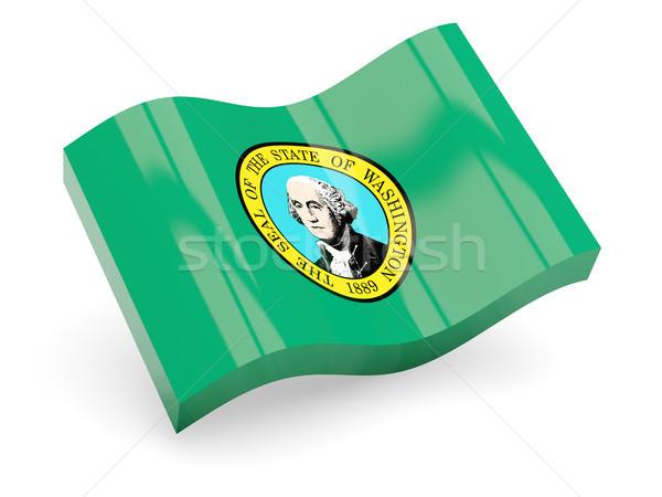 Dalgalı ikon Washington bayrak Stok fotoğraf © MikhailMishchenko