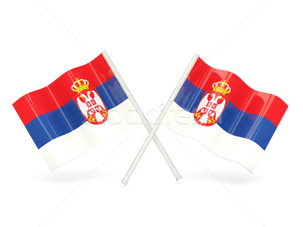 Pavillon Serbie deux ondulés drapeaux isolé Photo stock © MikhailMishchenko