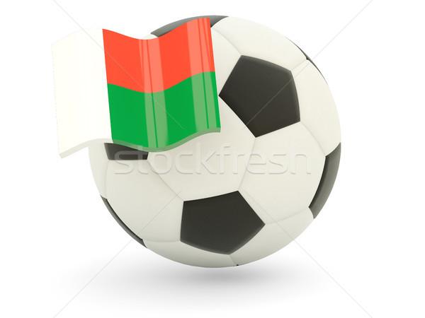 Voetbal vlag Madagascar geïsoleerd witte sport Stockfoto © MikhailMishchenko