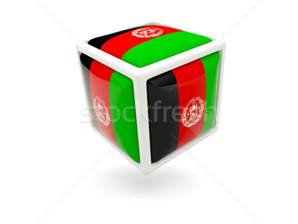 Bandeira Afeganistão cubo ícone isolado branco Foto stock © MikhailMishchenko