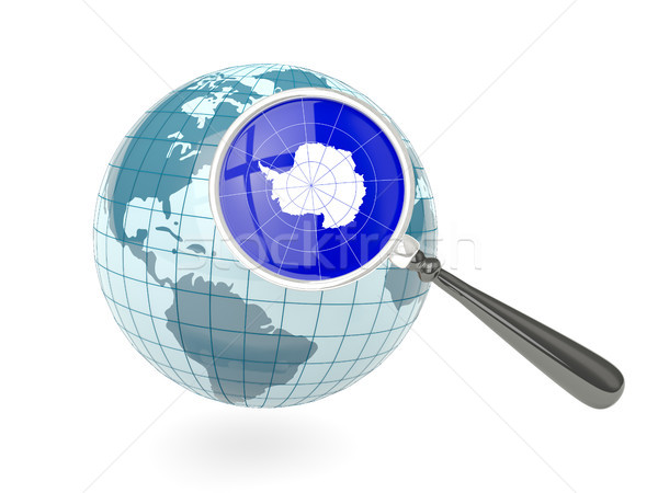 Stock photo: Magnified flag of antarctica with blue globe