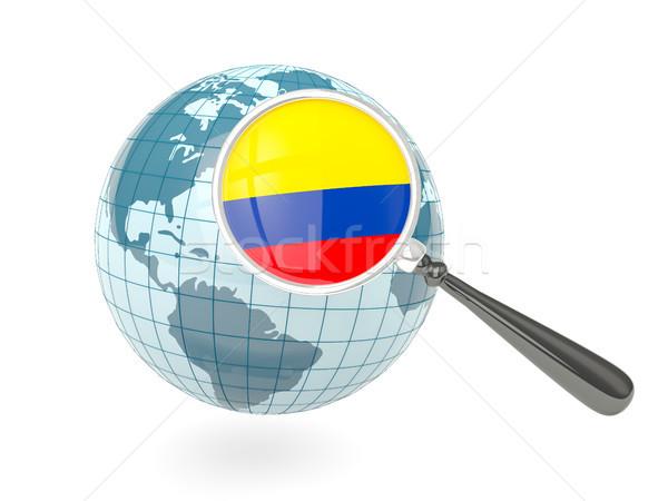 拡大された フラグ コロンビア 青 世界中 孤立した ストックフォト © MikhailMishchenko