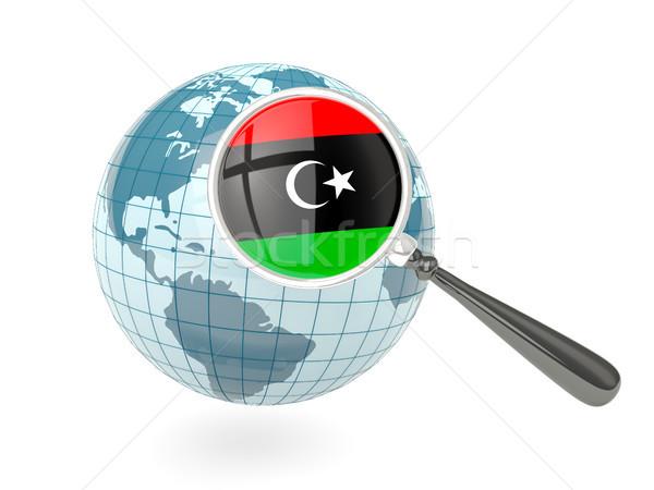 Banderą Libia niebieski świecie odizolowany Zdjęcia stock © MikhailMishchenko