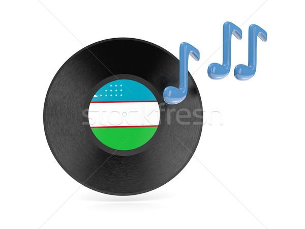 Bakelit lemez zászló Üzbegisztán izolált fehér Stock fotó © MikhailMishchenko