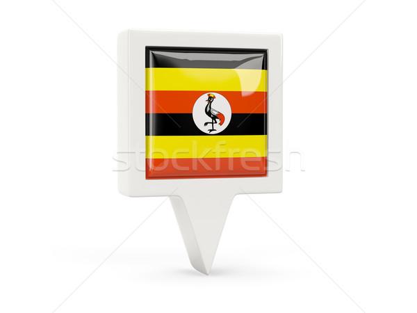 Kare bayrak ikon Uganda yalıtılmış beyaz Stok fotoğraf © MikhailMishchenko