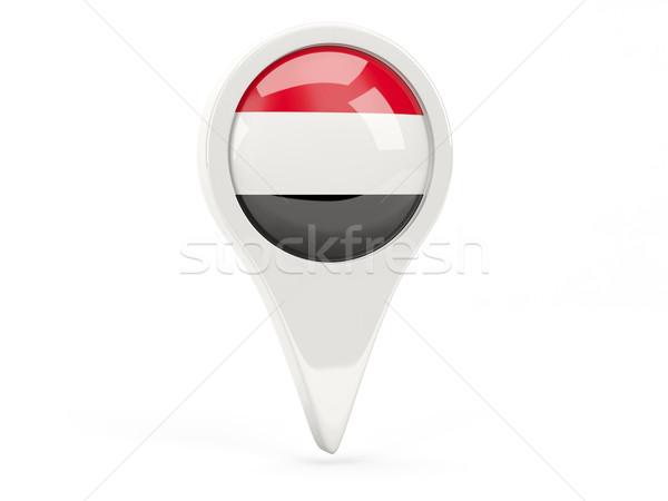 Bandeira ícone Iémen isolado branco mapa Foto stock © MikhailMishchenko