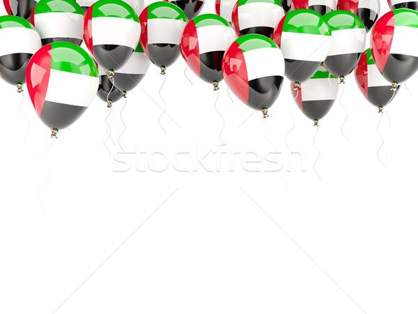 Balão quadro bandeira Emirados Árabes Unidos isolado branco Foto stock © MikhailMishchenko
