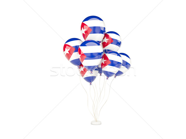 Uçan balonlar bayrak Küba yalıtılmış beyaz Stok fotoğraf © MikhailMishchenko