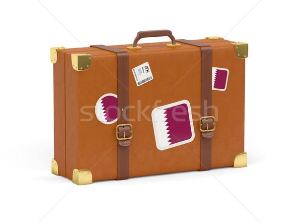 Suitcase with flag of qatar Stock photo © MikhailMishchenko