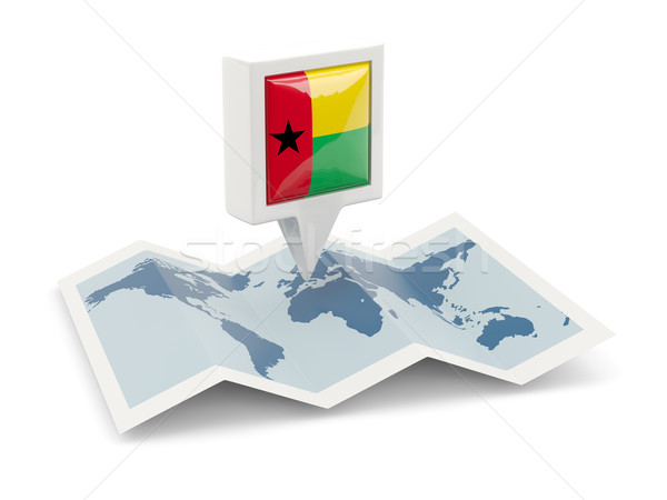 Square pin with flag of guinea bissau on the map Stock photo © MikhailMishchenko