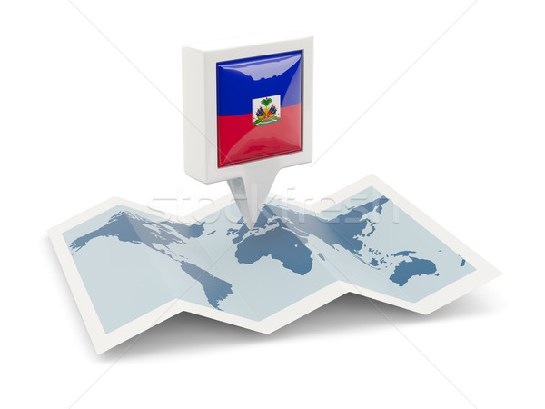 Square pin with flag of haiti on the map Stock photo © MikhailMishchenko