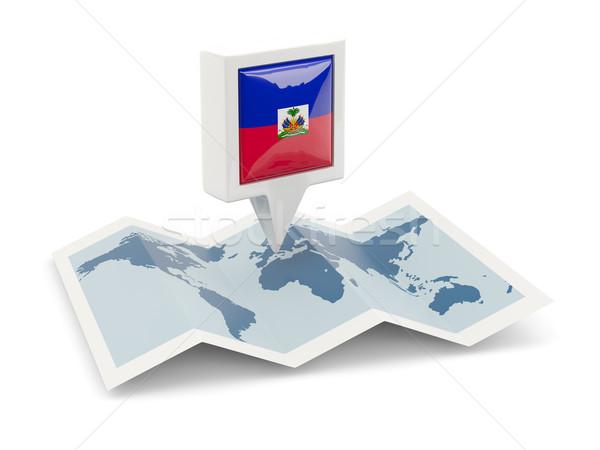 Piazza pin bandiera Haiti mappa viaggio Foto d'archivio © MikhailMishchenko