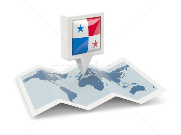 Vierkante pin vlag Panama kaart reizen Stockfoto © MikhailMishchenko
