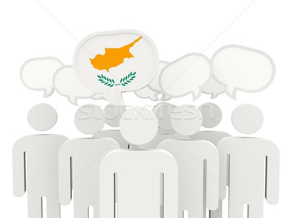 Mensen vlag Cyprus geïsoleerd witte vergadering Stockfoto © MikhailMishchenko