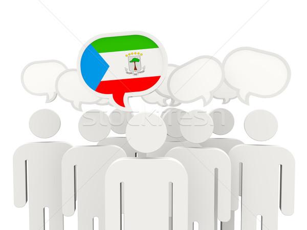 Pessoas bandeira Guiné Equatorial isolado branco reunião Foto stock © MikhailMishchenko