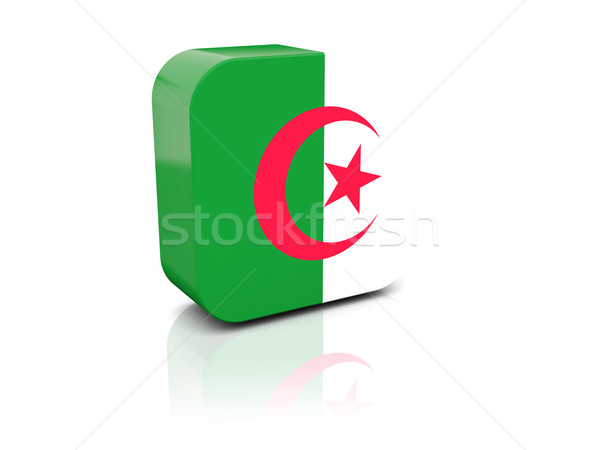 Stockfoto: Vierkante · icon · vlag · Algerije · reflectie · witte