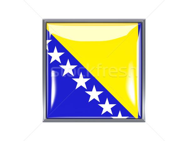 Foto stock: Cuadrados · icono · bandera · Bosnia · Herzegovina · metal · marco