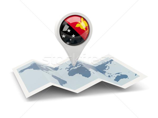 Tő zászló Pápua Új-Guinea térkép utazás fehér Stock fotó © MikhailMishchenko