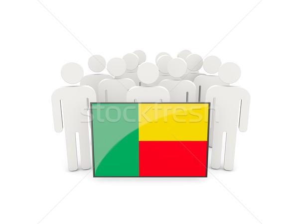 Persone bandiera Benin isolato bianco folla Foto d'archivio © MikhailMishchenko